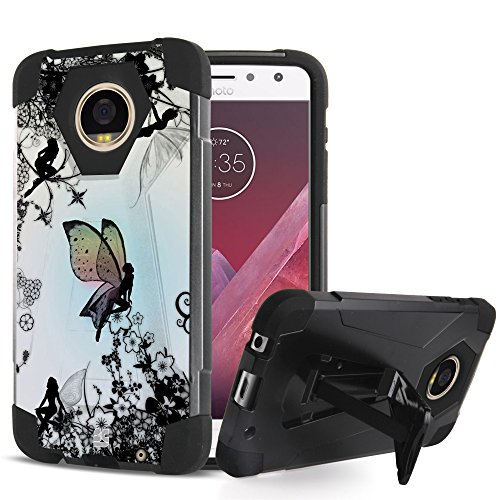 Price comparison product image Moto Z2 Force Edition Case - Ultra Slim Fit Dual Layer Rugged [Impact Resistant] Armor Kickstand Cover Case - [Fairy] and Atom LED