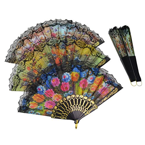 Windspeed Spanish Women Floral Folding Hand Fan Size 9'' Pack of 10 Pieces Random Color by Windspeed (Image #1)