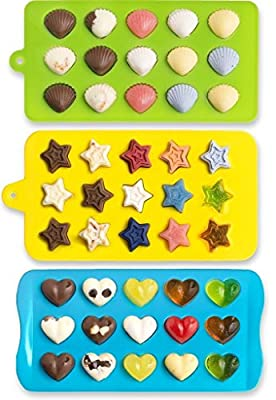 Mini Star, Heart and Shell Shape Silicone Candy Molds, Chocolate Molds, Ice Cube Tray, Soap Molds, Cake Baking Mold, Three Colors (Green, Blue, Yellow)