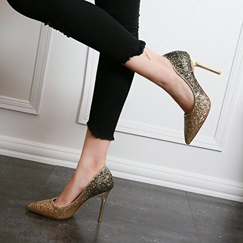 37 Heels Change Sharp Single Leisure Gradual Elegant Heel High 8 5Cm Sequins Fine Shallow Lady Shoes Work Spring Wedding Shoes Gold MDRW Pvw1x44q