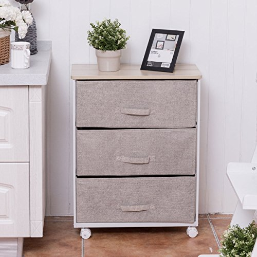 Fabric 3 Drawer Storage Unit Cart Organizer Shelf Laundry Bedroom Nursery Office (Steel Drawer Unit)