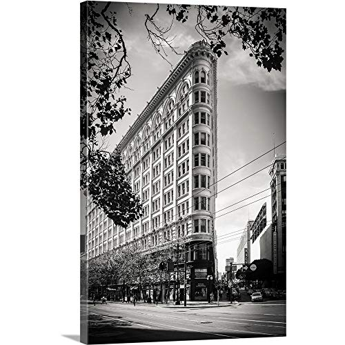 Giuseppe Torre Premium Thick-Wrap Canvas Wall Art Print Entitled Flat Iron NYC, Black and White Photograph 12
