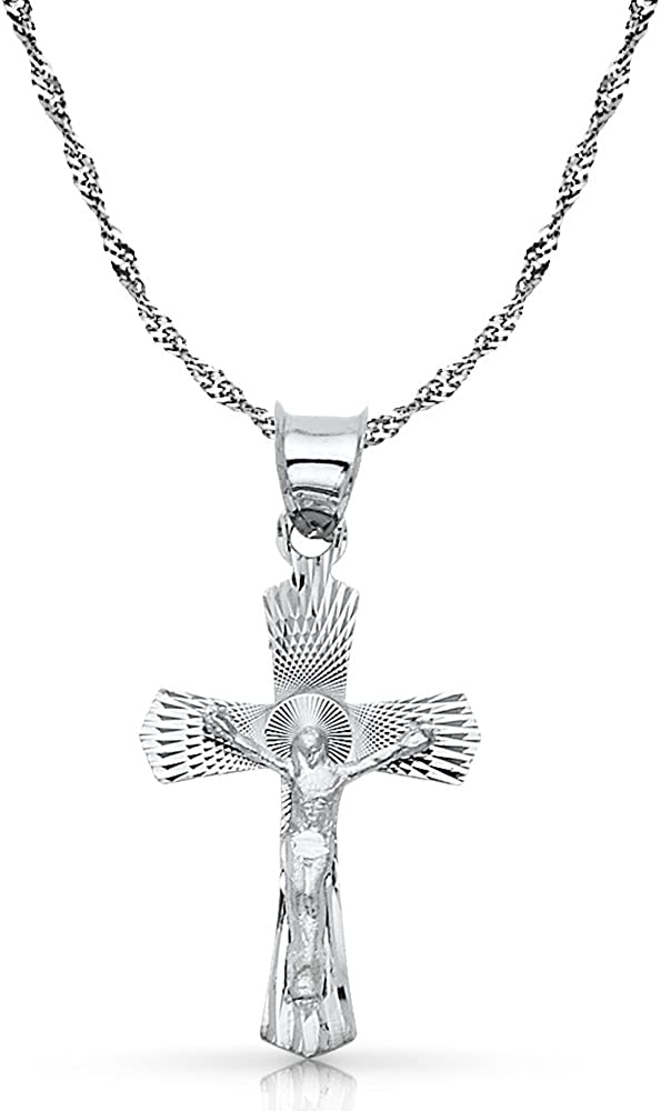 14K White Gold Crucifix Stamp Charm Pendant with 1.8mm Singapore Chain Necklace