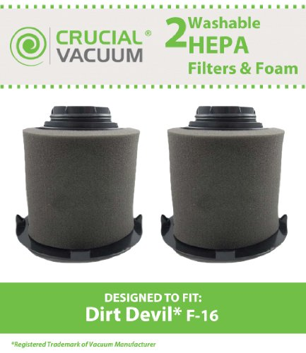 Dirt Devil F-16 Hepa Filter (2 Replacement for Dirt Devil F16 HEPA Style Filter & Foam Pre-filter, Compatible With Part # 1JW1100000 & 2JW1000000, by Think Crucial)