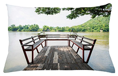 Ambesonne Travel Throw Pillow Cushion Cover, Wooden Seem Terrace on The Riverside Romantic Calming in Woods Image Print, Decorative Accent Pillow Case, 26 W X 16 L inches, Dark Brown and Green - Riverside Deck Chair Set