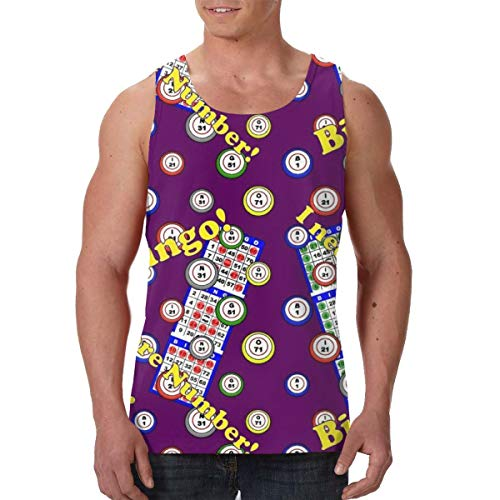 LIN. Sleeveless Undershirt for Youth & Adult Men Boys Workout & Training Activewear Muscle Tank Top Vests Casual Soft Athletic Regular Fit Shirts -Bingo Dots Purple (Best Workout For Bingo Wings)