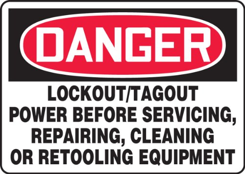 Accuform Signs MLKT280VA Aluminum Safety Sign, Legend 'DANGER LOCKOUT/TAGOUT POWER BEFORE SERVICING, REPAIRING, CLEANING OR RETOOLING EQUIPMENT', 10' Length x 14' Width x 0.040' Thickness, Red/Black on White