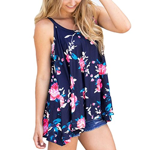 mujeres ropa ☀☀Imprimir Flor Mujer Verano Mujer Blusa Tank Top Azul
