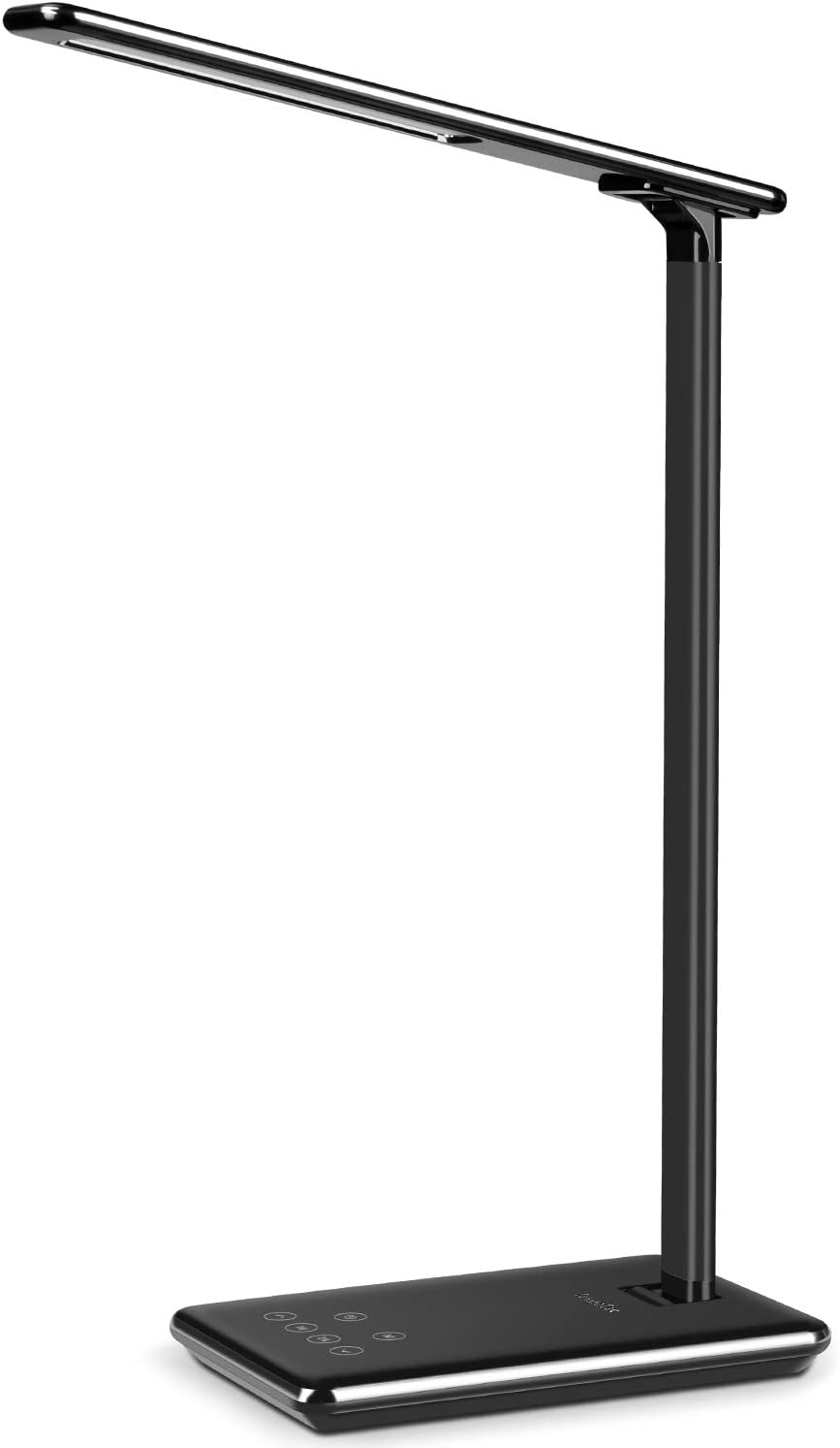 TenmaTec Computer Desk Lamp,Dimmerable Office LED Table Lmap(USB Charging Port,1 or 2 Hour Timer,4 Lighting Modes,6 Brightness Levels) Reading,Study,Computer Work Light for Kids,Piano Black