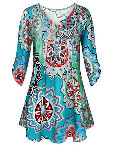 Tunic Shirts for Women 3/4 Sleeve,Viracy Lady Flowy Tops Crew Split V Neck Button Up Blouses Roll Up Sleeve Lightweight Soft Cotton Ruched Swing Floral Henleys Green Geometric L st patricks day shirt