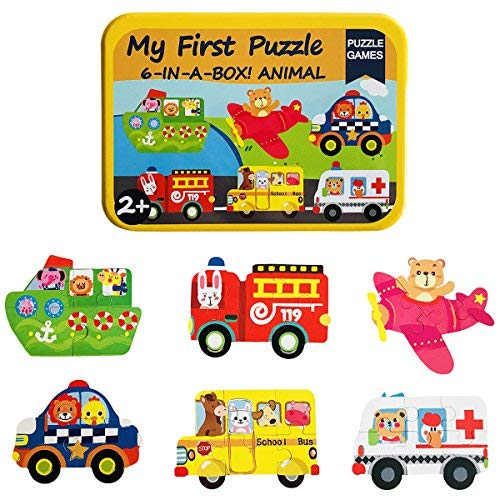 Humars Puzzle Games 6-In-A-Box!My First Travel Vehicles Puzzle Set Wooden Jigsaw Puzzles for Toddlers Gift