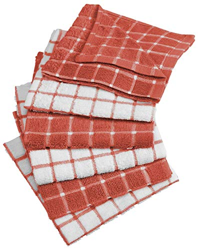 "CC Home Furnishings Set of 6 Terracotta and White Windowpane Patterned Dishcloths 12"" x 12"""