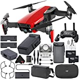 DJI Mavic Air Fly More Combo (Flame Red) CP.PT.00000174.02 + DJI Intelligent Flight Battery for Mavic Air + 32GB microSDHC Card + Memory Card Wallet + Deluxe Cleaning Kit + MicroFiber Cloth Bundle