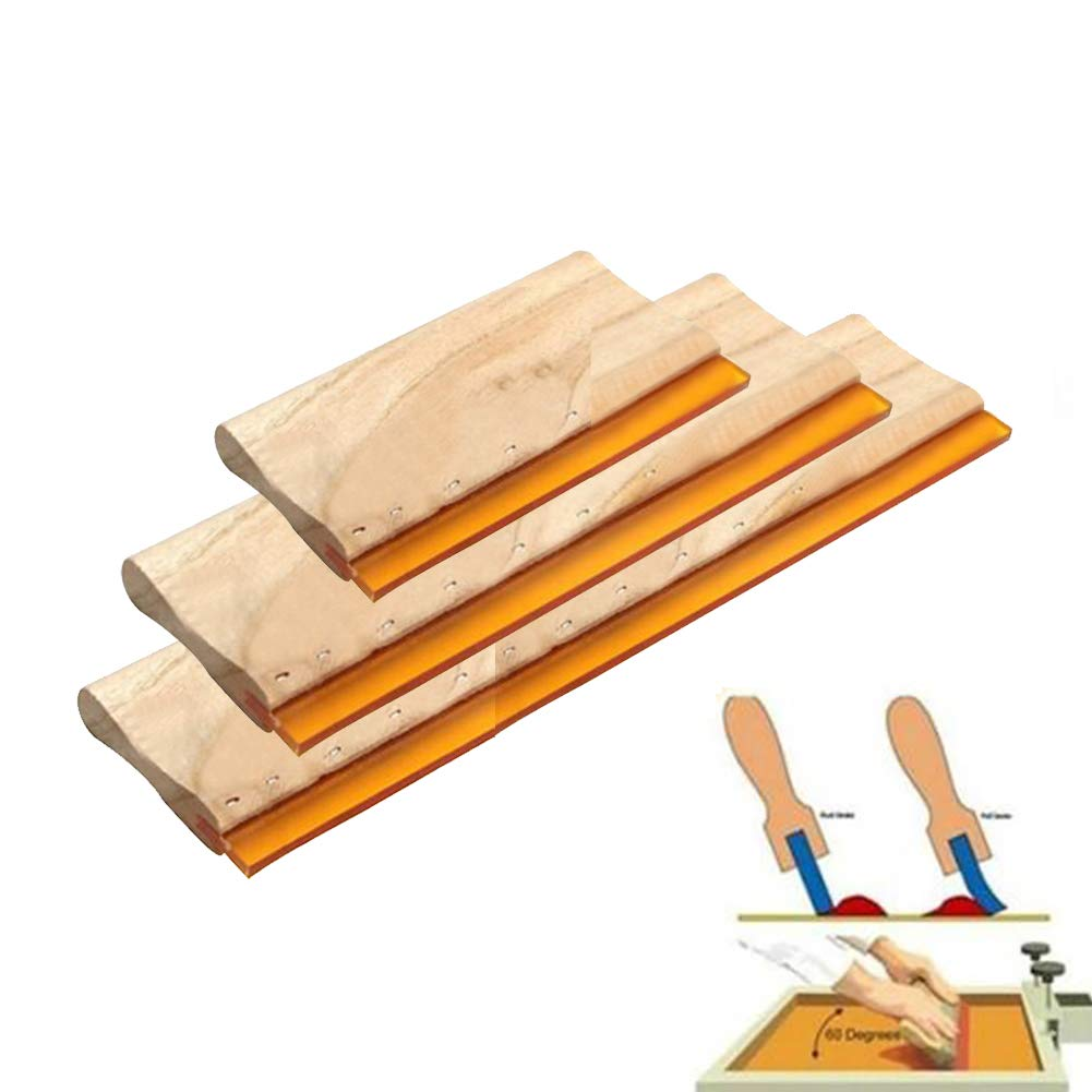 Lolylina 3 pcs Silk Stencil Screen Printing Squeegee Wood Screen Ink Scraper 16 cm 24 cm 33 cm