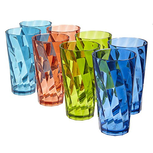 Optix 20-ounce Plastic Tumblers | set of 8 in 4 Basic Colors (Drinkware)