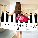 smallbeefly Modern Bath Towel Hand Drawn Red Rose on Piano with Musical Notes Romantic Instrumental Art Customized Bath Towels Pink Black White Size: W 19.5'' x L 39.14''