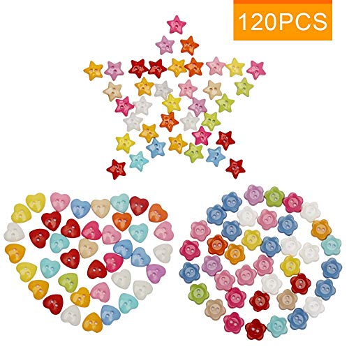 Sewing Buttons for DIY, Luxiv 120 Pcs Colors Buttons Craft DIY Handmade for Play Button Painting Sewing Resin Flower Star Heart Shape Buttons Assorted Resin Buttons for Painting DIY ()