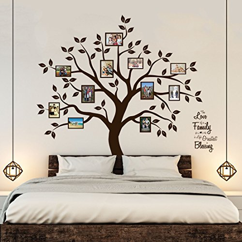 Wall Decals Appliques (Timber Artbox Beautiful Family Tree Wall Decal with Quote - The Only Décor You Need for Living Room & Bedroom)