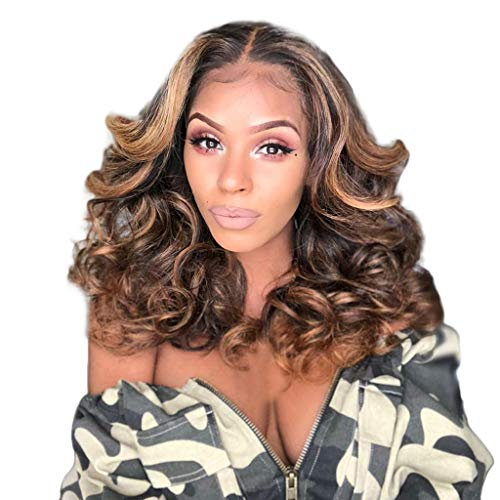 Long Ombre Wave Curly Hair Wigs for Brown Women High Density Temperature Synthetic Cosplay Wig Middle Parting (Brown)]()