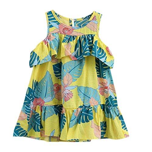 De bajo costo DRESS start Vestido Para Bebé NiñAs Vestido De ImpresióN  Hojas Sin Hombro Con Volantes 0f1594b4107b