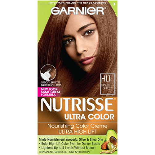 Garnier Nutrisse Ultra Color Nourishing Permanent Hair Color Cream, HL1 Rich Toffee (1 Kit) Brown Hair Dye (Packaging May Vary)
