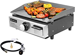Camplux 17 in Tabletop Propane Gas Grill Griddle, Outdoor Gas Grill Camping with 2 Adapter, 15,000 BTU, Automatic Ignition, ETL Certification, 255 sq, 2-in-1 Functional