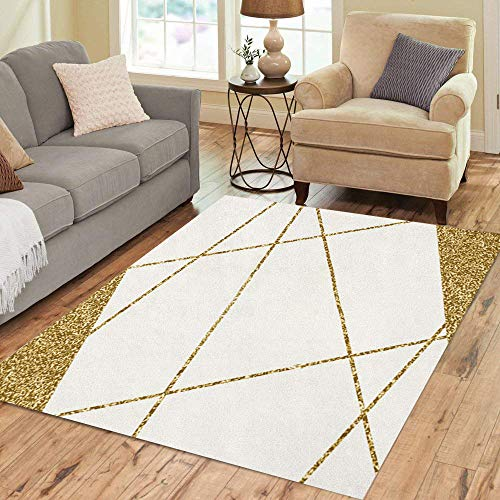 - Pinbeam Area Rug Gold Abstract Shapes on Cream Modern and Packaging Home Decor Floor Rug 5' x 7' Carpet