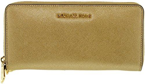 Michael Kors Women's Jet Set Travel Continental Saffiano Wristlet Leather Wallet Baguette - Pale Gold by Michael Kors