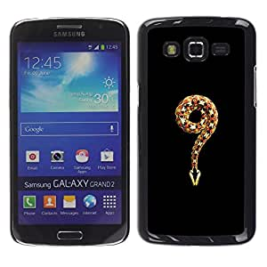 FlareStar Colour Printing Minimalist Snake King Black Nature cáscara Funda Case Caso de plástico para Samsung Galaxy Grand 2 II / SM-G7102 / SM-G7105