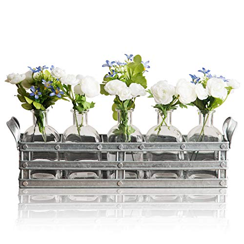 Bud Flower Vases with Galvanized Holder - 5-Piece Set of Clear Glass Bottles for Home Decor, Window-Sill Display, Decorative Storage, Party or Wedding Centerpiece from Emenest