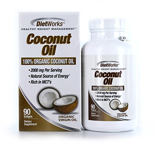 DietWorks Coconut Oil Softgels, 100% Organic Coconut Oil, Rich in MCTs, Healthy Weight Loss Formula, 45 servings