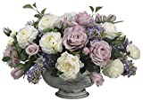 Allstate Floral Plastic Artificial Flowers 13 Inch Tall Lilac / Rose / Peony / Ranunculus In Metal Container 16.5 X 13 X 20 Inches Purple Model # WF1162‐LV/BL