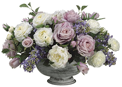 Allstate Floral Plastic Artificial Flowers 13 Inch Tall Lilac / Rose / Peony / Ranunculus In Metal Container 16.5 X 13 X 20 Inches Purple Model # WF1162‐LV/BL by Allstate Floral