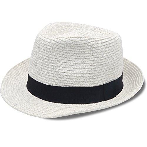 Stynice Panama Hat Foldable Fedora Hats Women & Men Short Brim Straw Hats Beach Sun Hat Summer Vacation Jazz 55-58cm