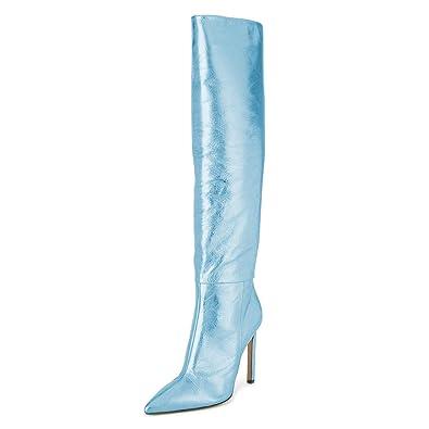 ced1fa77991 FSJ Women Metallic Knee High Long Boots Closed Toe Stiletto High Heels  Dress Shoes Size 4