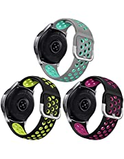 3 Packs Sport Bands Compatible with Samsung Galaxy Watch 46mm/Gear S3 Frontier for Men Women, NAHAI 22mm Watch Band Silicone Quick Release Rubber Replacement Strap for Galaxy Watch 3 LTE 45mm