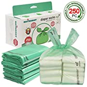 Baby Disposable Diaper Bags – 100% Biodegradable Diaper Sacks with Baby Powder Scent & Added Baking Soda to Absorb Odors - 250 Count (Green)