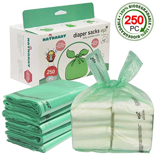 Hathaway Easy-Tie Baby Disposable Diaper Sacks/Diaper Bags with Baby Powder Scent, 250 Count from Hathaway