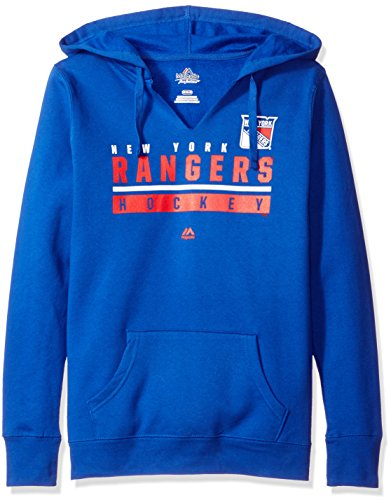 NHL New York Rangers Women's Hand Pass Program Split Neck Hoodie, Medium, Deep Royal