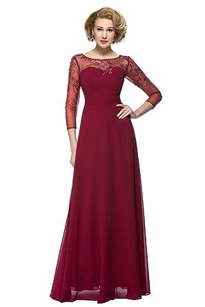 Sisjuly Womens Sweetheart Beaded 3/4 Sleeve Chiffon Evening Dress 2 Burgundy
