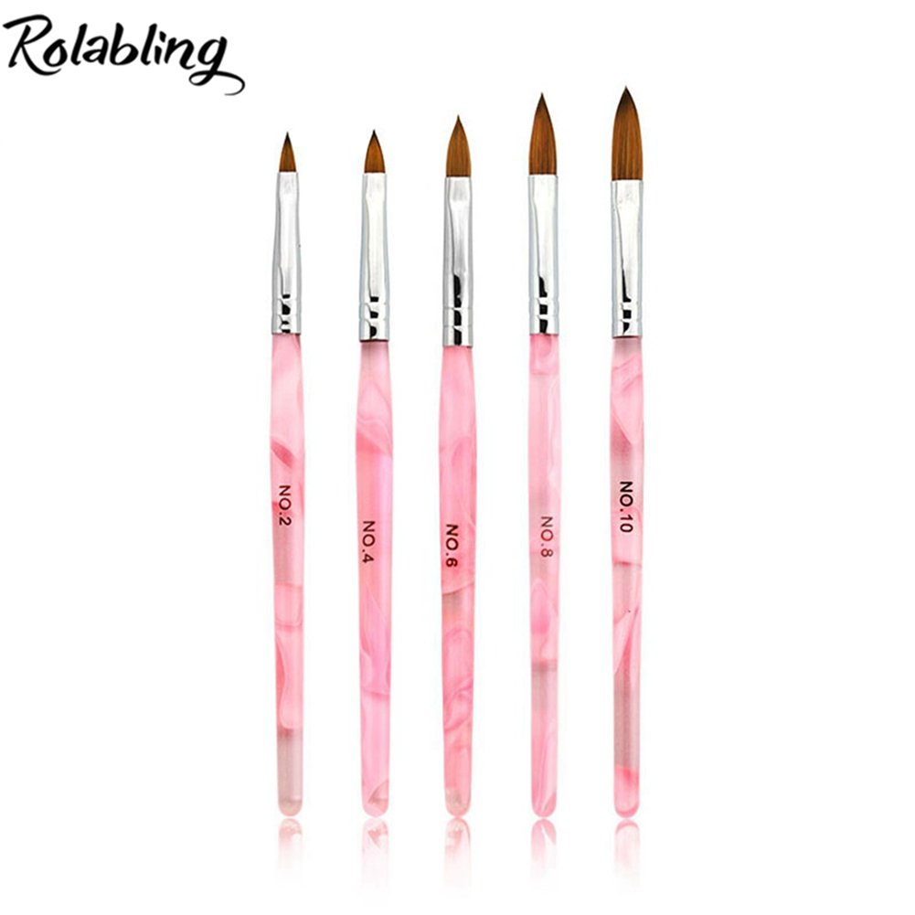 Rolabling 5pcs/set 2#/4#/6#/8#/10# Kolinsky Sable Brush Acrylic Nail Art Builder Brush Nail Art Painting Brush (Set-1)