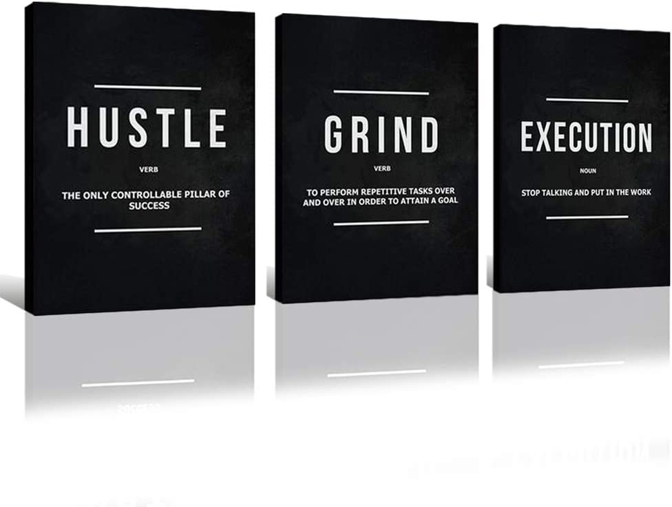 FADALO ART 3 Pieces Inspiratinal Canvas Wall Art Black and White Art Prints for Living Room Hustle Grind Quotes Poster Motivational Office Wall Decor Framed Painting Home Picture for Men 12