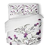 SanChic Duvet Cover Set French Lavender Oil in Watercolor Essential Bottles Botanical Movie Fabrics White Decorative Bedding Set 2 Pillow Shams King Size