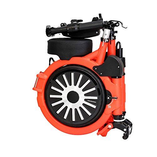 Bicicleta eléctrica plegable con batería recargable de litio 48V (NARANJA), Patinete eléctrico plegable NEOFOLD, Scooter electrico Vel max 20km/h.