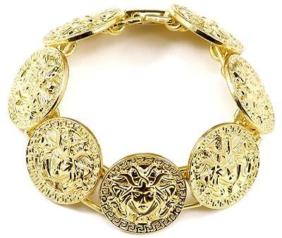 GWOOD Medusa Bracelet 7 3/4 Inches Pendant Bracelet With 7 Pendant Heads Gold Color
