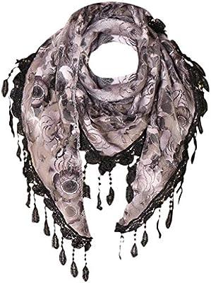 NEW Chain Print Scarf Pashmina Silky Cream Black Oversized Soft Tassels Stunning