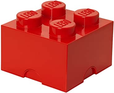 LEGO Storage Brick With 4 Knobs, in Bright Red