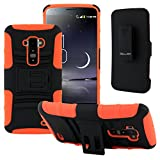 CellJoy Dual Armor Protective Cover with Belt Clip Holster for LG G Flex - Neon Orange