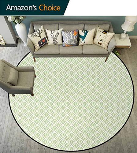 DESPKON-HOME Retro Anti-Skid Area Rug,Pastel Vintage Geometric Swirled Square Shapes Monochrome Ornate Tile Pattern Green Soft Area Rugs Round-63 Inch,Lime Green White