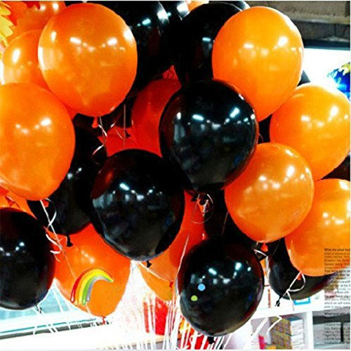 Zebra Face Paint Costume (Party Balloons, Misaky Halloween Birthday Party Decoration Supplies Balloon (100 PCS Balck+100PCS Orange))